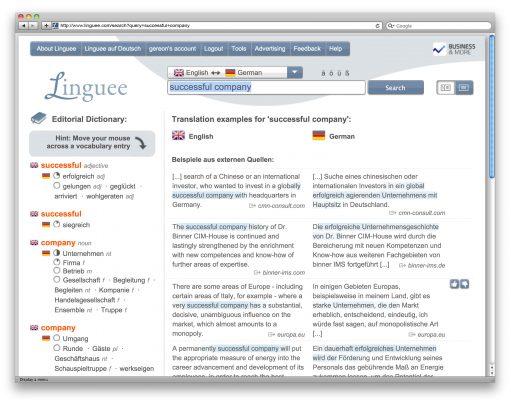 gratis Duitse vertalingen met Linguee